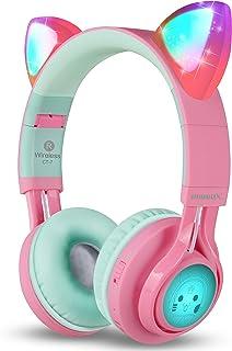 Riwbox CT-7 - Auriculares Bluetooth con orejas de gato, luz LED, inalámbricos, con micrófono y control de volumen, para iPhone/iPad/smartphone/portátil/PC/TV Rosa&Verde