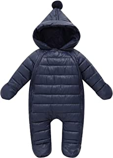famuka Baby Winter Snowsuit Infant Hooded Outerwear Jumpsuit Newborn Romper Thick Coat