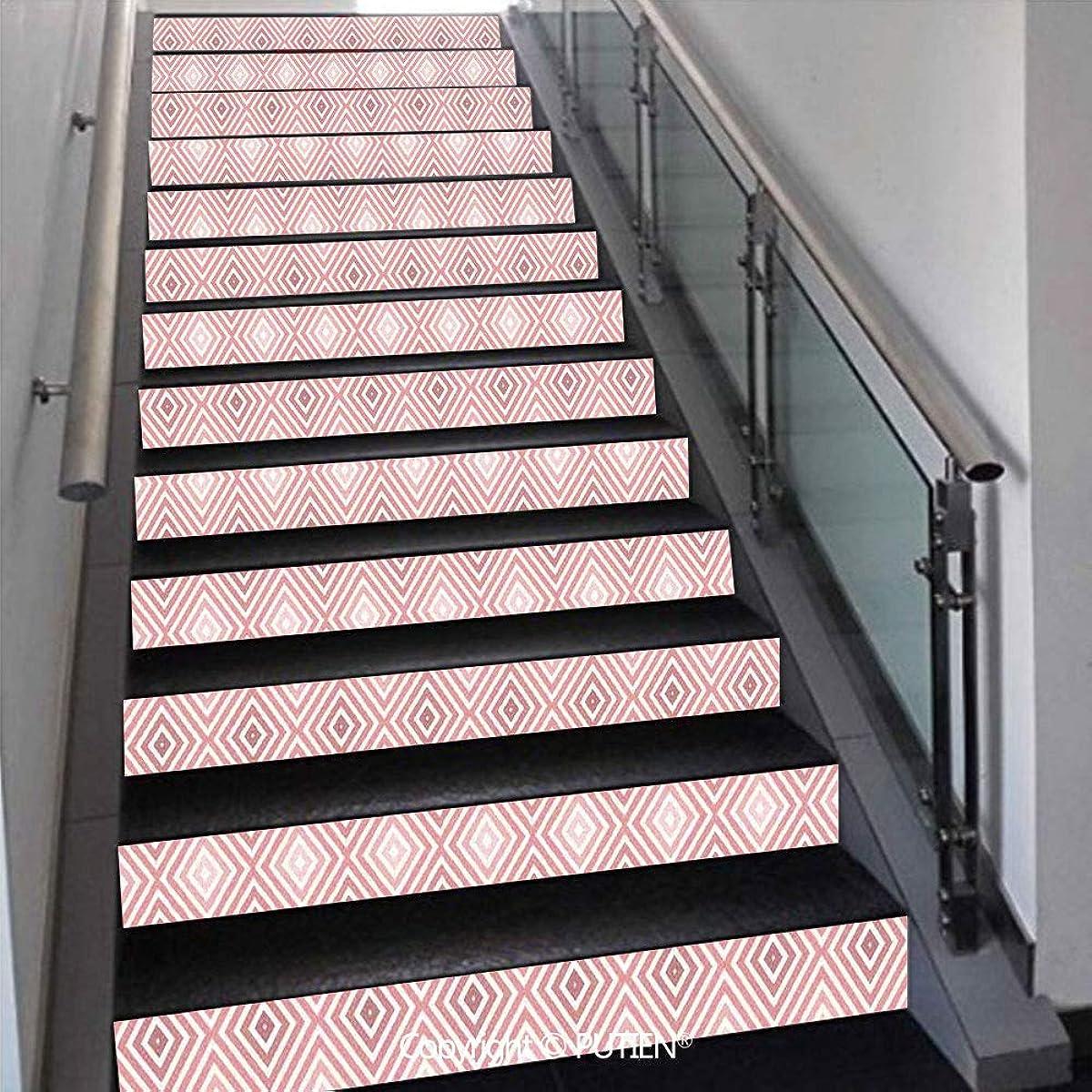 PUTIEN European Stair Stickers Wall Stickers,13 PCS Self-Adhesive [ Geometric Decor,Diamond Shaped Enlargin