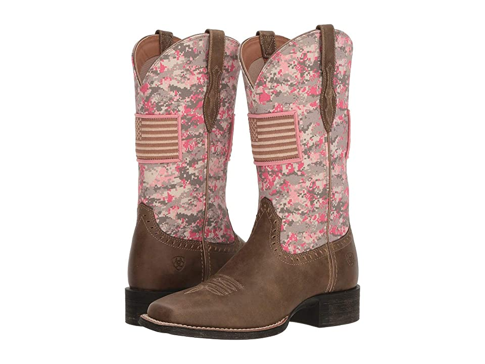 Ariat Round Up Patriot (Brown Bomber/Pink Camo) Cowboy Boots