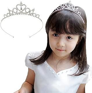 Acecharming Flower Girls Crystal Tiara Crown Headband for Wedding Birthday Party(Silver)