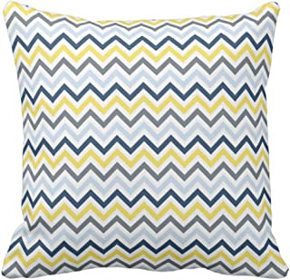 Emvency Throw Pillow Cover Navy Blue Light Yellow and Gray Chevron Decorative Pillow Case Retro Home Decor Square 18 x 18 Inch Cushion Pillowcase