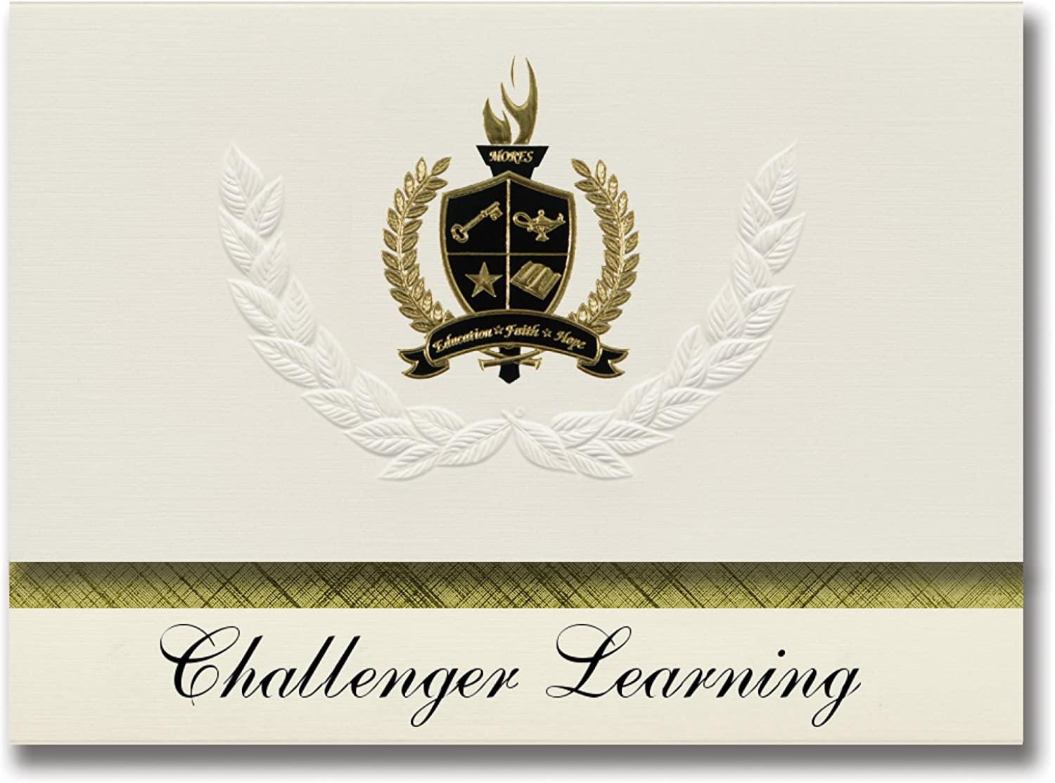 Signature Announcements Challenger Learning (Kissimmee, FL) Graduationsankündigungen, Präsidential-Stil, Grundpaket Grundpaket Grundpaket mit 25 Goldfarbenen und schwarzen metallischen Folienversiegelungen B0794SN9HH | Modernes Design