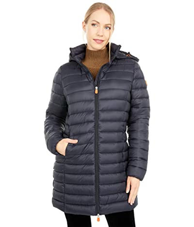 Save the Duck Giga Hooded Puffer Jacket with Removable Hood (Black) Women
