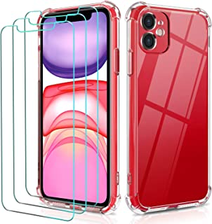 ivoler Fodral för iPhone 11 6.1 Tums + 3-pack skärmskydd i härdat glas, Bumper Case, Crystal Clear Slim Soft TPU för iPhon...