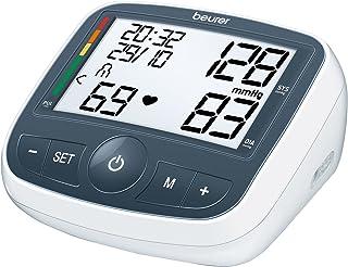 Beurer BM40 - Tensiómetro de brazo con adaptador, indicador OMS, memoria 2 x 60 mediciones, color gris y blanco