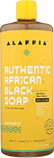 Alaffia Authentic African Black Soap All-in-One, Peppermint, 32 Oz. Body Wash, Facial Cleanser, Shampoo, Shaving, Hand Soa...