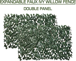 Garden Land Artificial Leaf Faux Ivy Expandable/Stretchable Privacy Fence Screen (2PC,Single Sided Leaves)
