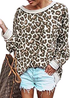 BTFBM Women's Fashion Color-Block Leopard Print Sweatshirt Crew Neck Long Sleeve Loose Soft Basic Shirt Pullover Tops