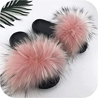 plage Fashion Furry Flip Flops Women Slippers Fluffy Raccoon Furry Slides Soft Sandals with Furry Home Shoes Ladies Cute Winter Warm Slipper
