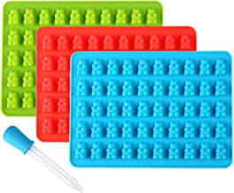 Lizber Gummy Bear Molds 3 Pack , Silicone Candy Molds 50 Cavities with Bonus Dropper (Blue , Green , Red)