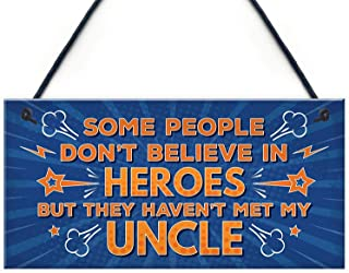 Uncle is My Hero Birthday Christmas Custom Wood Signs Design Hanging Gift Decor for Home Coffee House Bar 5 x 10 Inch