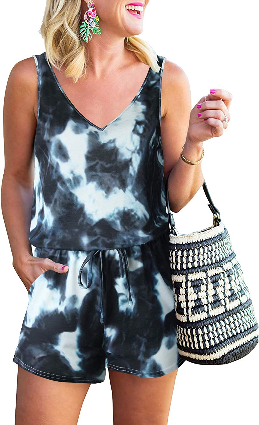 ANRABESS Womens Summer V Neck Sleeveless Tank Top Short Jumpsuit Rompers with Pockets