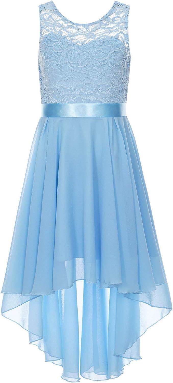 JEEYJOO Kids Girls High Low Wedding Flower Girls Chiffon Dress Lace Floral V Back Dance Prom Party Dresses