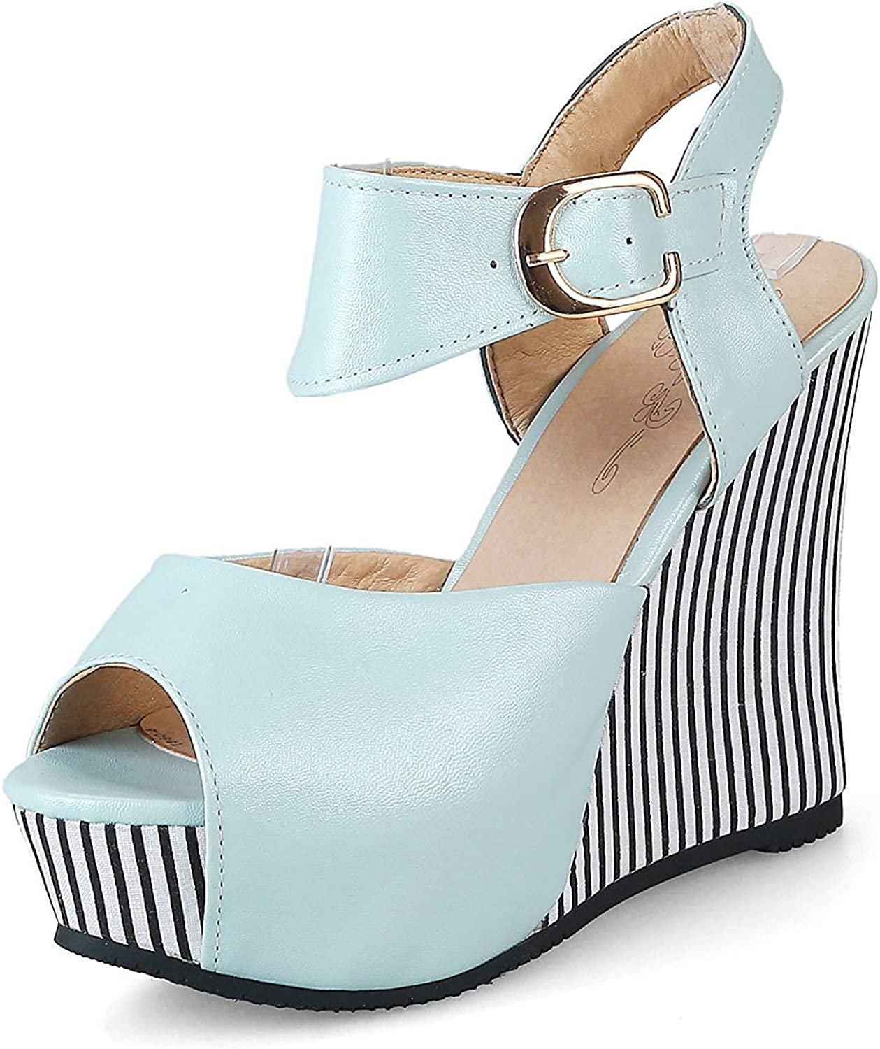 Unm Women's Peep Toe Wedge Sandals with Ankle Strap - Striped Buckled Platform - Trendy High Heel