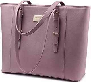 Laptop Bag for Women, Large Computer Bags for Women, Laptop Purse Fit Up to 15.6 Inch, Laptop Briefcase for Women with Padded Compartment, Professional Laptop Tote Work Bags, Purple