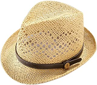 Hats Soft and Light for Spring and Summer Men's Cool Breathable Straw Hat Fashion (Color : Beige)