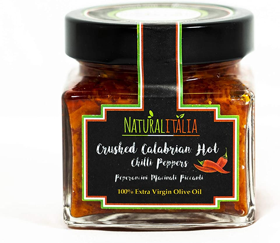 Crushed Calabrian Hot Chili Pepper Gourmet Paste / Spread in 100% EVOO Extra Virgin Olive Oil 180 gr. by NATURALITALIA