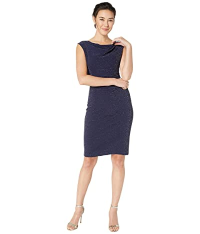 Tahari by ASL Petite Sleeveless Sparkle Knit Side Draped Dress w/ Cowl Neckline (Navy) Women
