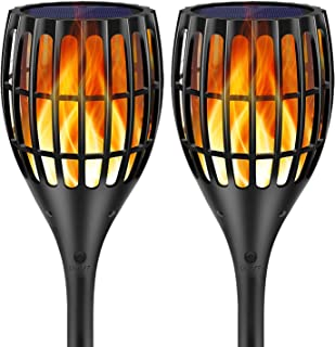 Ollivage Solar Torch Flame Lights Waterproof Flickering Flames Torches Lights Solar Garden Lights Outdoor Landscape Decoration Lighting Dusk to Dawn Auto On/Off for Yard Garden Pathway, 2 Pack