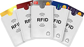 iParn RFID Aluminium Foil WiFi Credit Debit Card Cover Holder (ATM Card Sleeve 5 Pack_Silver)