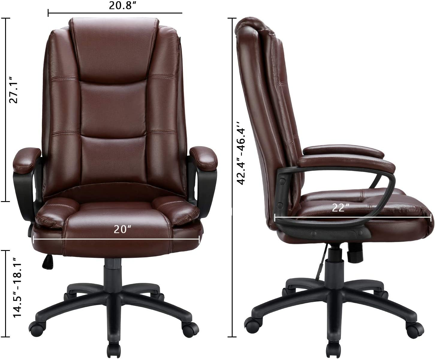 ghdonat.com Black BOSSIN High-Back Executive Office Chair Leather ...