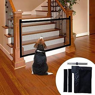 Novsix Magic Pet Gate para Perros Malla de Aislamiento Plegable portátil Puerta de Seguridad para Mascotas Valla de Seguridad para Perros Gasa aislada Instalar con Cinta Fuerte de Gancho y Lazo para
