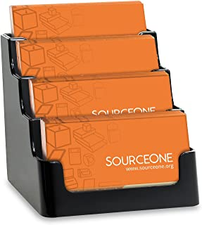 Source One 4 Pocket Clear Acrylic Business Card Holde (1 Pack, Black)