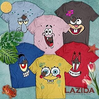 LAZIDA Sponge Bob Friends Costume Halloween Group Matching Outfit Cartoon Character Costume Cosplay T-Shirt   Hoodie   Tank Top   Sweatshirt   Long Sleeve