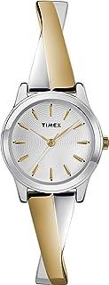 Timex ساعة كوارتز للنساء، شاشة تناظرية وحزام من الفولاذ المقاوم للصدأ - TW2R98600
