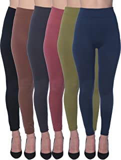 Active Club 6 Pack Women's Fleece Lined Soft,High Waist,Slimming,Winter Warm Leggings-Plus Size Leggings
