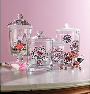 Plaid Enterprises Martha Stewart - Plantillas para Pintura sobre Cristal, diseño de corazón y Flor