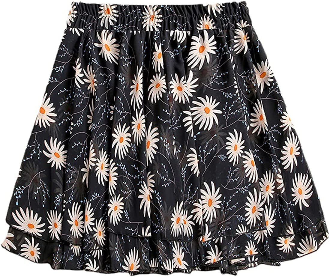 G-dress Globalwells Women Chiffon 2 Layers Mini Tutu Skirt Swing Boho High Waist Elastic Skirt