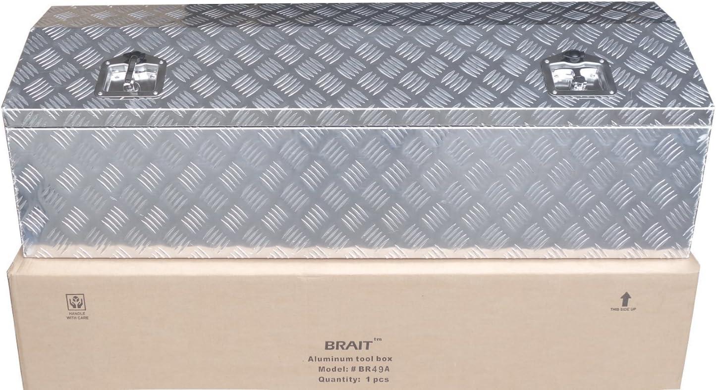 Silver Brait 49 Aluminum Truck Pickup Tool Box ATV Trailer Storage RV Trailer