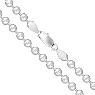 Collar de plata de ley 925 de 1,5 mm a 5 mm, cadena de eslabones de bolas para perro, cadena de ejército para colgantes, p...