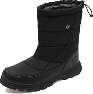 Mens Winter Snow Boots Waterproof Full Fur Lined Walking Boots Ankle Shoes for Men