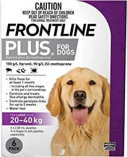 FRONTLINE PLUS For Dogs 20 To 40 Kg PURPLE Pack 6 Pipettes