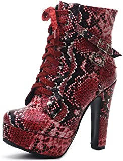 DecoStain Women's Snake Print Sexy Casual Elegant Boots Ladies Daily Lace Up Shoes