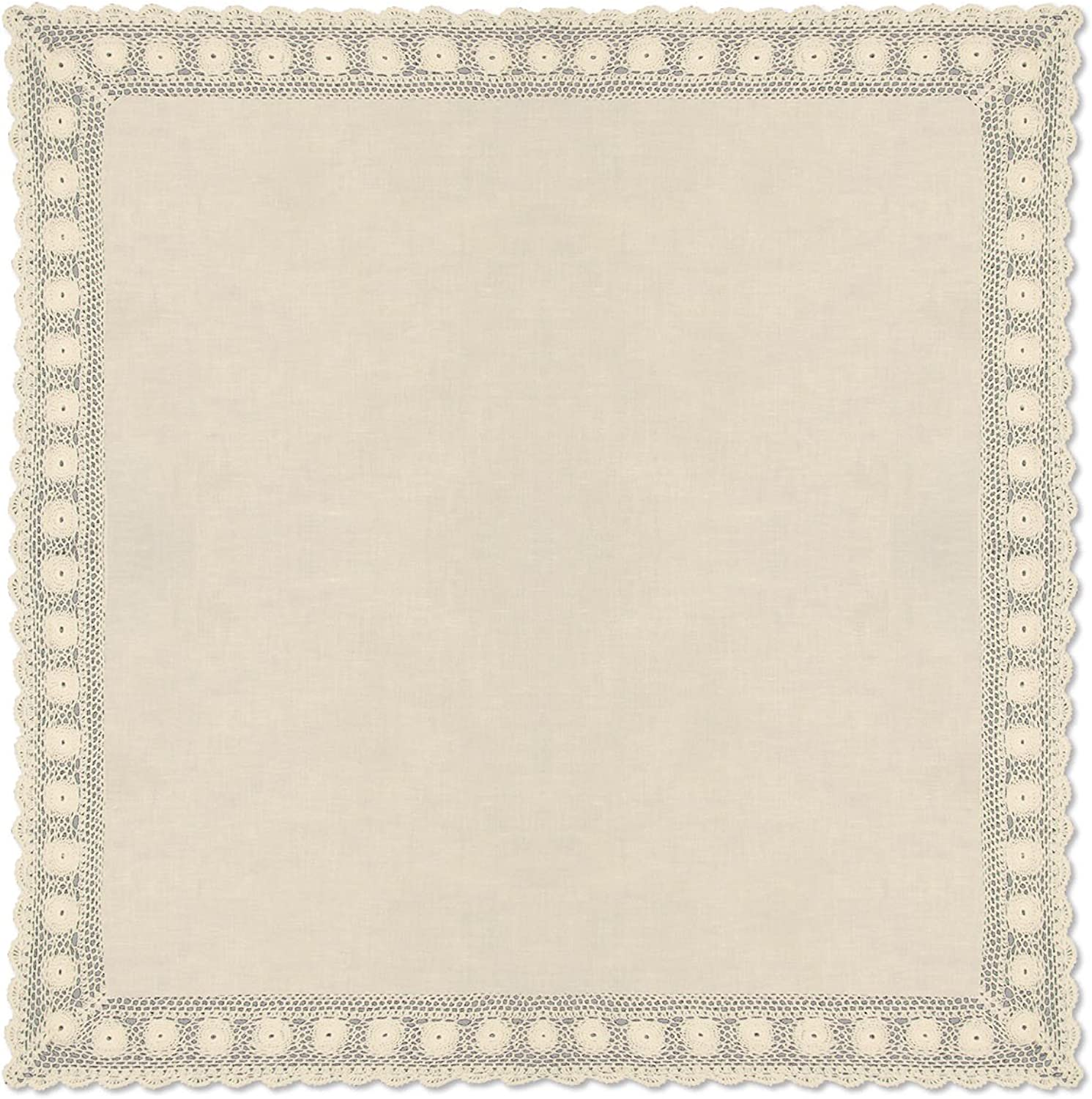 Heritage Lace bluee Ribbon Crochet Rectangle Table Topper, 42 by 42 , Cream