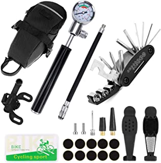 Odoland Bike Tire Repair Tool Kit with 210 PSI Gauge Hand Pump Fits Presta and Schrader Valve, 16 in 1 Multi Bicycle Fix Tools, Patch Tool Tire Puncture Repair Kit and Work Bag
