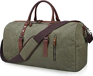 Travel Duffel Bag Large Canvas Duffle Bag for Men Women Leather Weekender Overnight Bag Carryon Weekend Bag Army Green