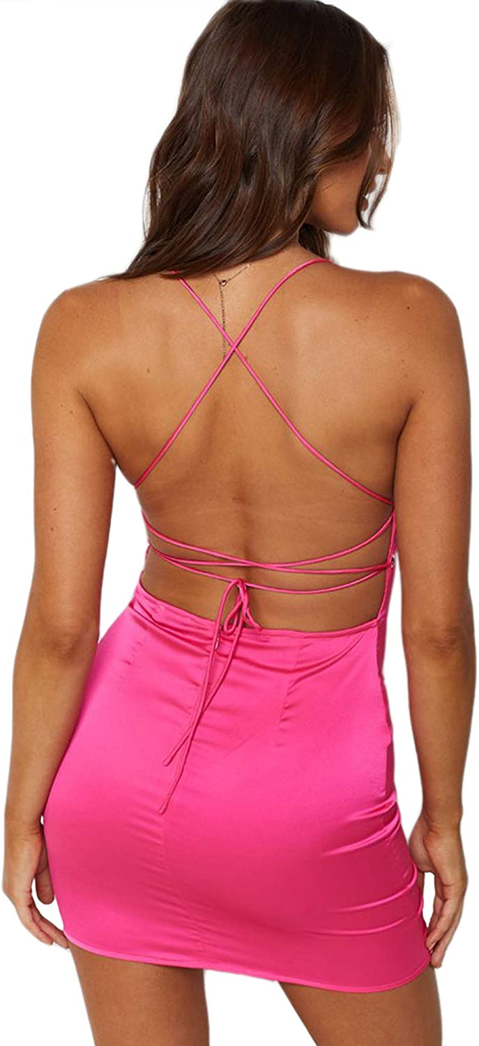 just quella Clubwear for Women Sexy Backless Bodycon Party Mini Dress