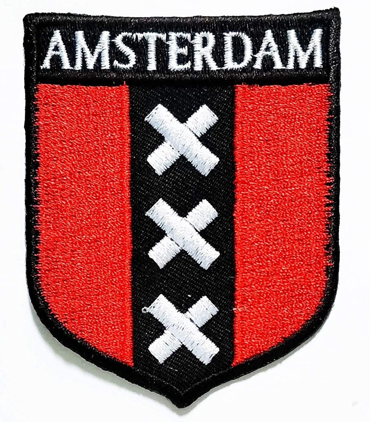 PP Patch Amsterdam Flag National Emblem Iron On Sew on Uniform Jeans Clothes Hat Bag Dress Hat Cap Polo Backpack Ideal for Gift