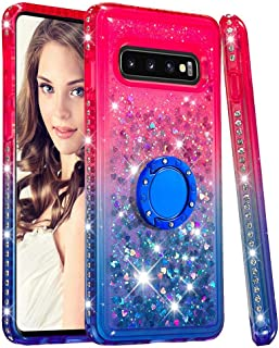 Case for Galaxy S10,Flowing Quicksand Liquid Cases with Floating Sequins Finger 360 Degree Rotate Ring Stand Soft Durable Luxury Diamond-Set Side TPU Case Compatible with Samsung Galaxy S10