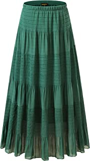 Women's Chiffon Elastic High Waist Pleated A-Line Flared Maxi Skirts