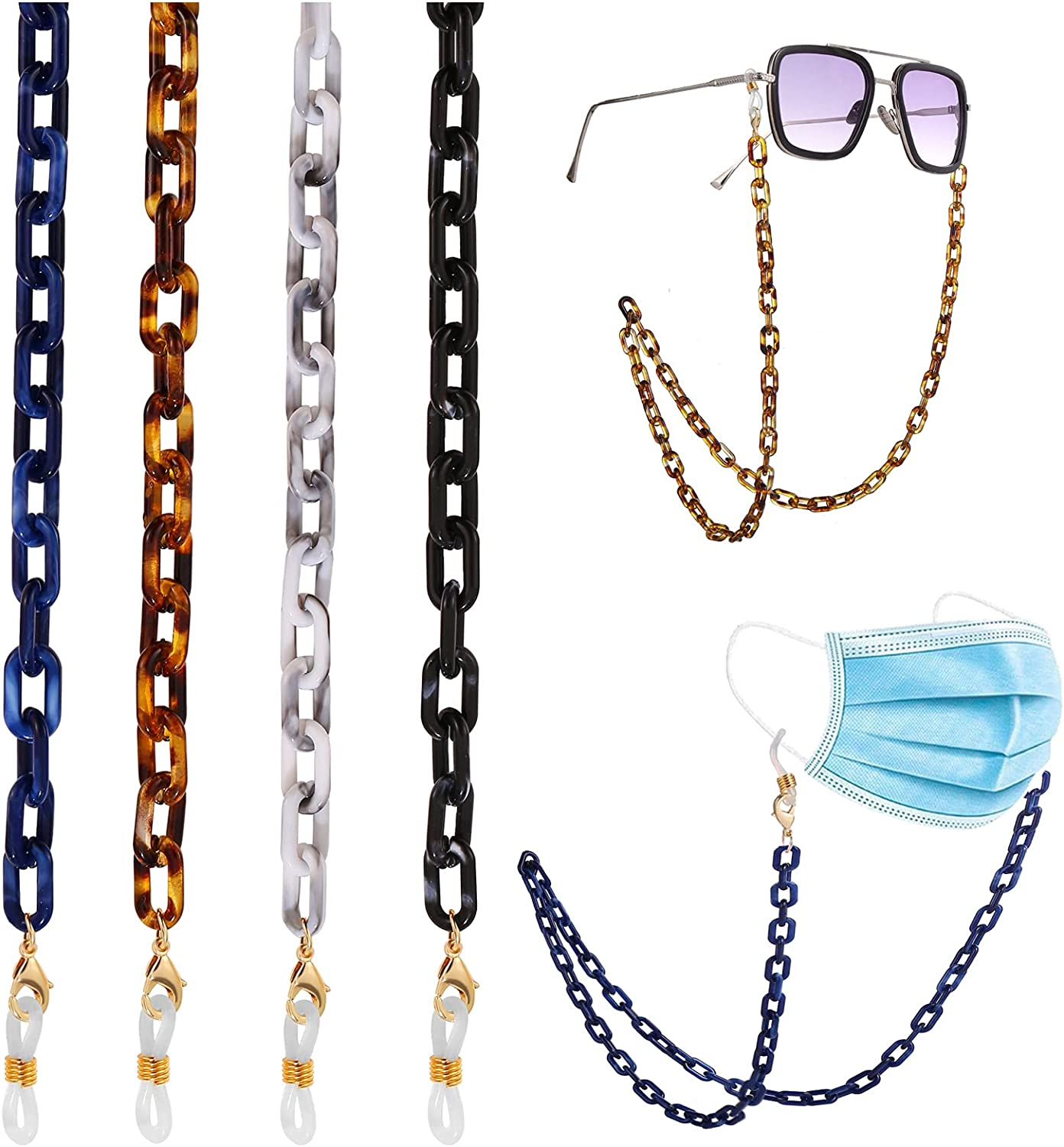 Face Mask Chains for Women Kids to Hold Masks/Sunglasses/Eyeglass Around Neck, Anti-Lost Chunky Eyeglass Chain with Clips