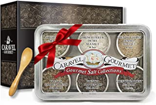 The French Sea Salt Sampler - Perfect as a Gift Set - Reusable Tins & Bamboo Spoon - Fleur de Sel, French Grey, Citrus Fennel, Garden Blend, Grey Provencal, Grey Harvest - 1/2 oz. each, 3 total oz.
