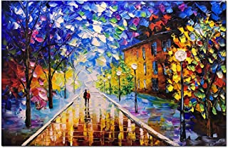 V-inspire Art, 24x36 Inch 100% Hand-Painted Oil Paintings on Canvas Wall Art Romantic Rainy Night Modern Landscape Living Room Art Bed Room Art Dinning Room Art Home Decorations Décor Stretched Frame