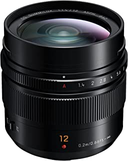 Panasonic Leica DG Summilux 12mm F1.4 Fixed Focal Length Wide Lens, Black (H-X012E)