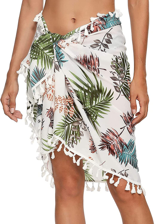 sreoci Beach Womens Semi-Sheer Swimwear Cover Ups Short Skirt with Tassels-Leaves